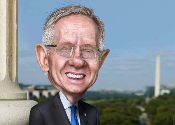Harry Reid Caricature by DonkeyHotey