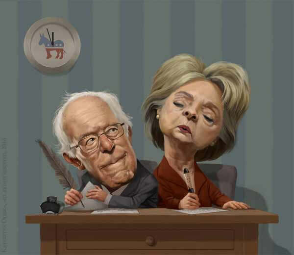 Bernie and Hillary Charicature By Kate Oleska