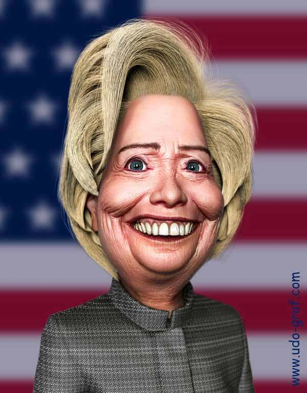 Hillary Clinton Caricature by Udo Graf