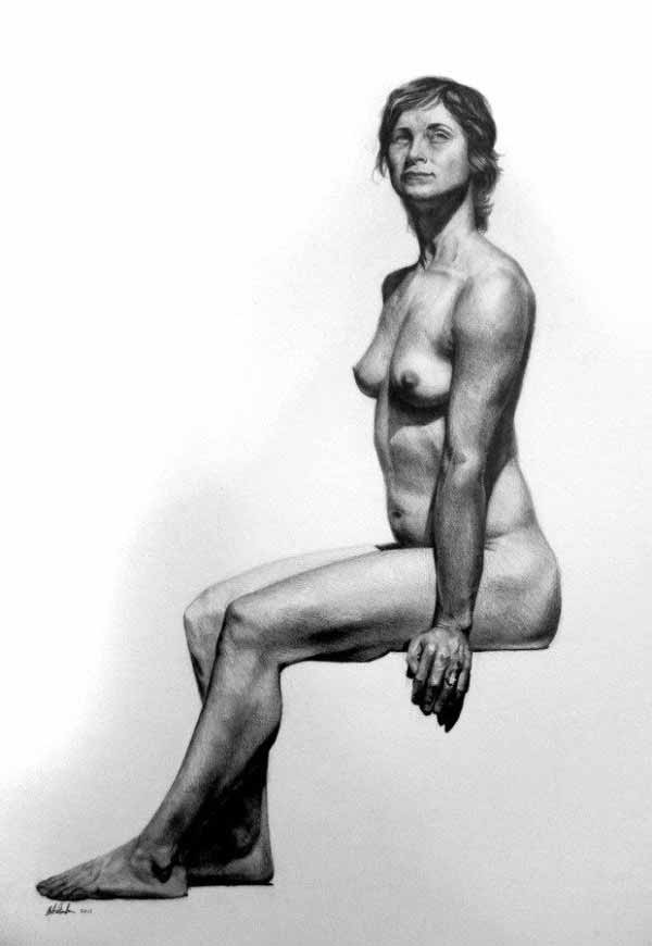 Stephen Mabee Seated Female Figure Drawing