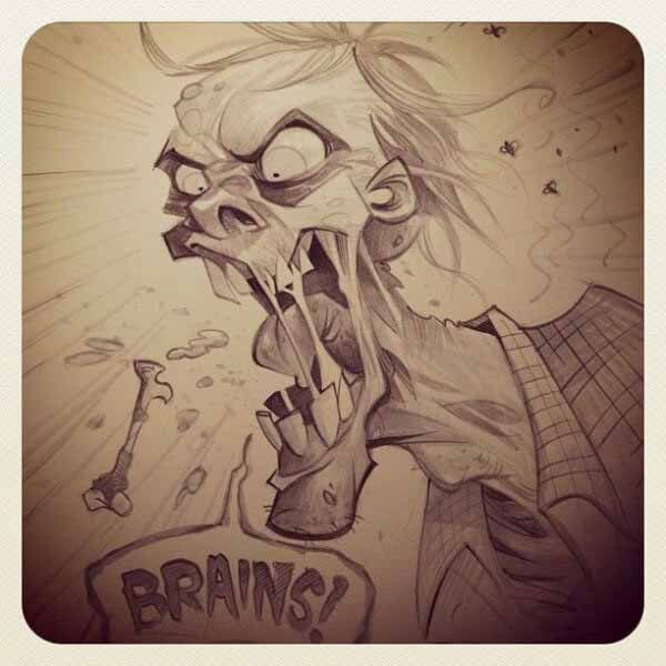 Zombie Sketch By Brett Parson