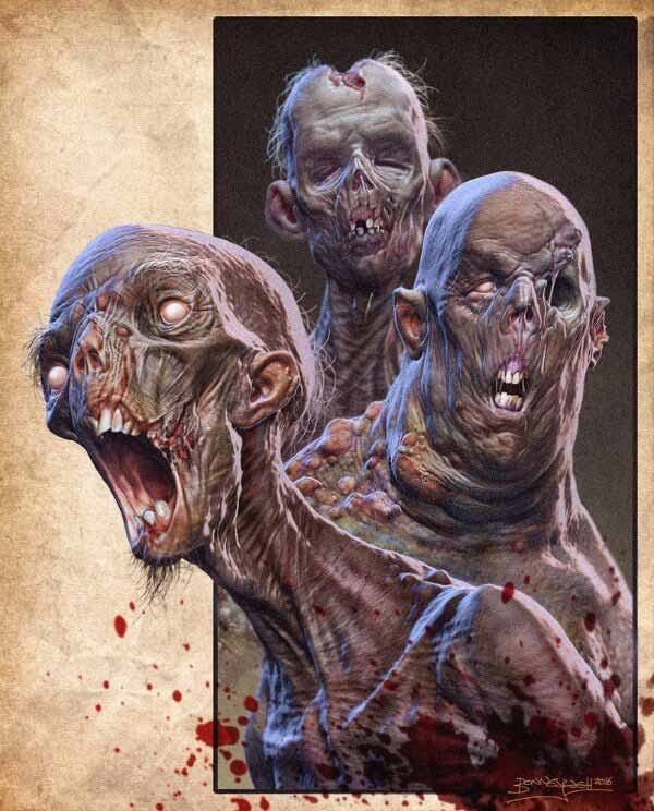 Drawing Of Zombies By David Bonneywell