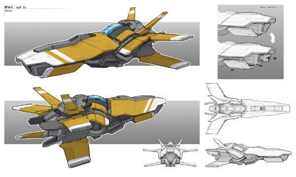 Spaceship Fighter Concept Art By Gavin Manners