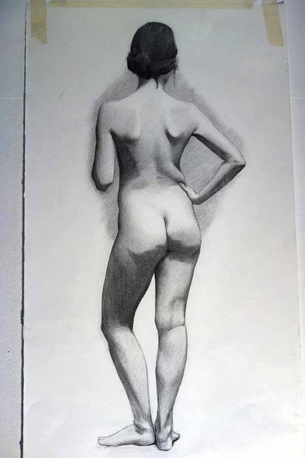 Female Life Drawing By Hans Mothander