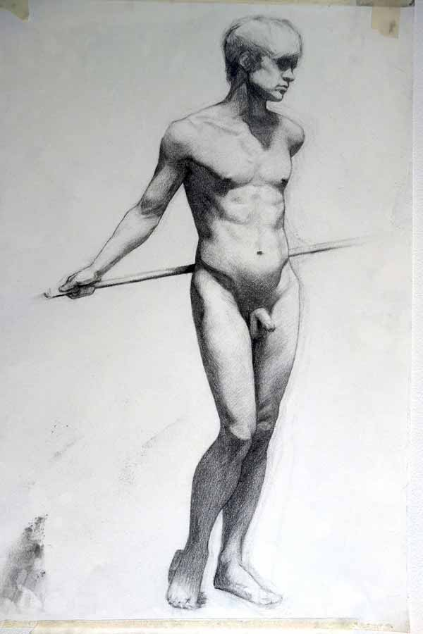 Male Life Drawing By Hans Mothander