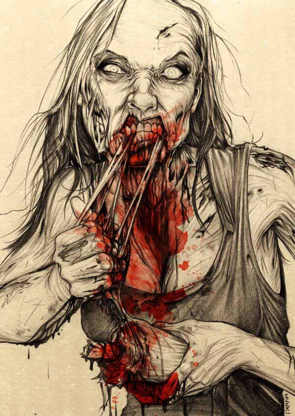 Female Zombie Face Drawing By Munk One