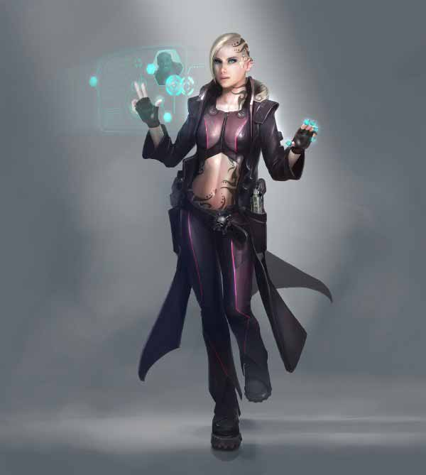 64 badass cyberpunk girl concept art female character designs