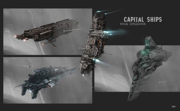 Capital Ship Sketches By Georg Hilmarsson