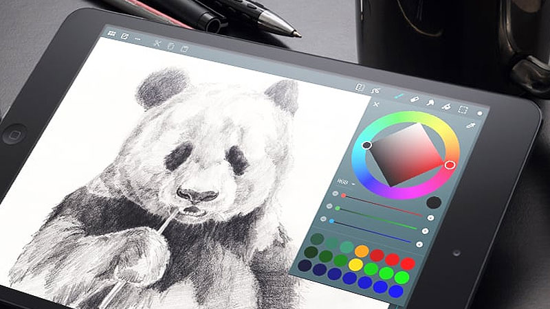 Panda Drawing On A Android Tablet