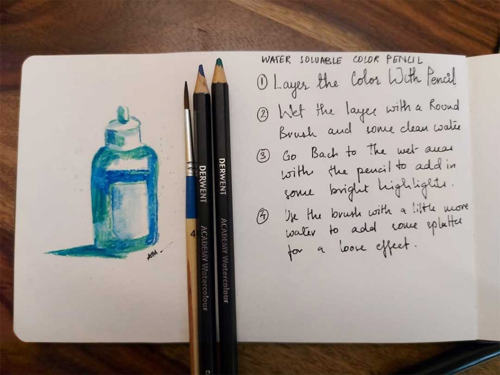 water soluable color pencil notes