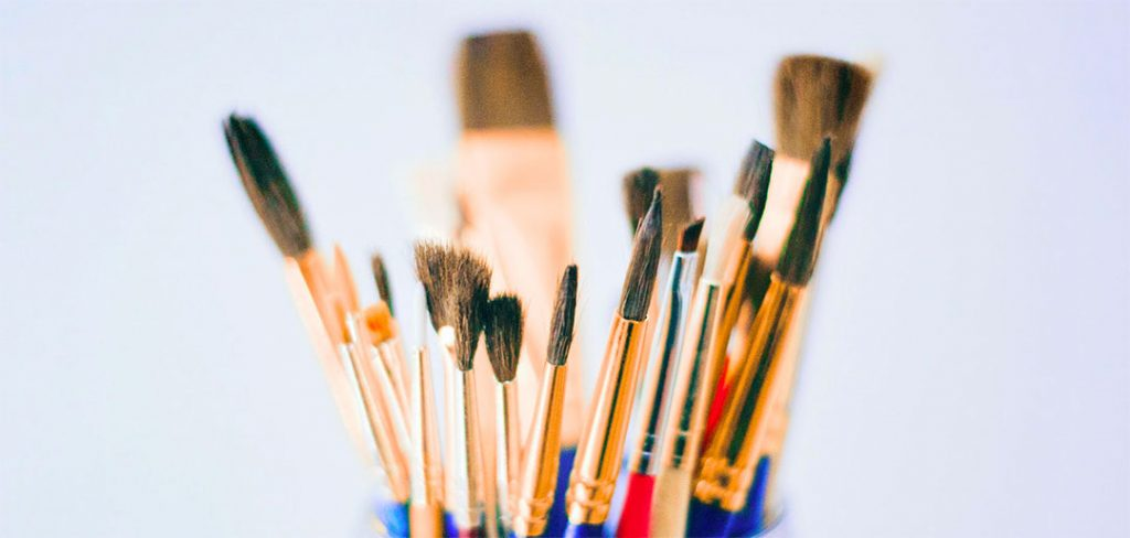 watercolor brushes in a group