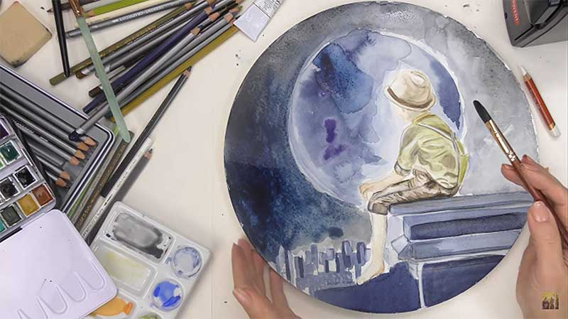 watercolor painting of boy in a hat