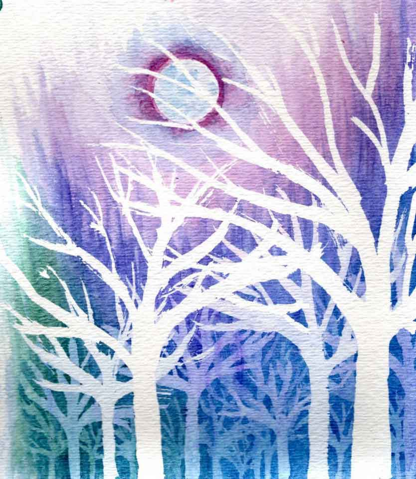 waterrcolor painting with an excellent use of masking fluid